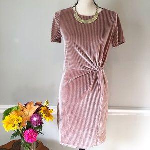 SHE + SKY Pink Velvet Knot Waist Dress Small